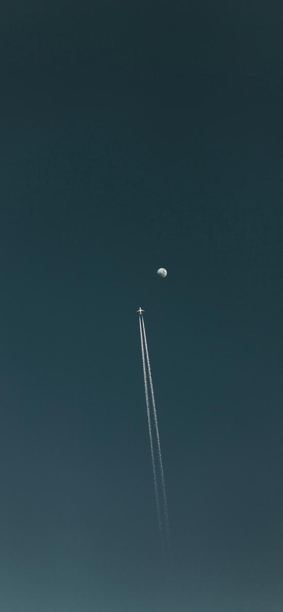 天空 月球 飞机 云轨