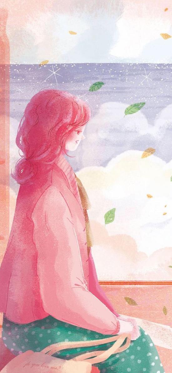 情侣 插画 女孩 粉色