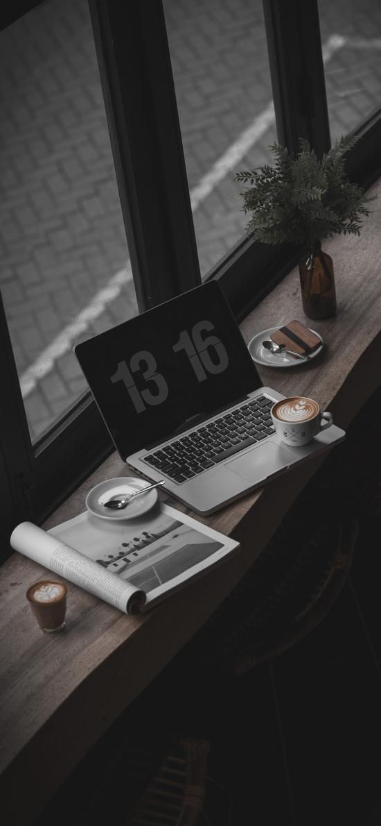 静物 笔记本 咖啡 橱窗