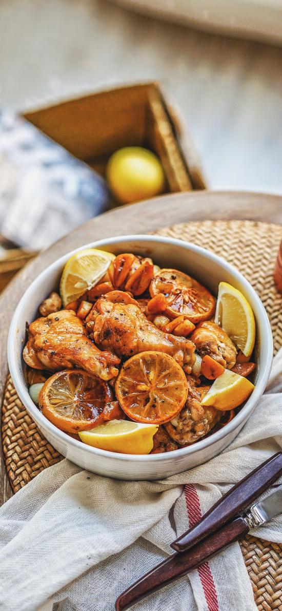 烹饪 菜式 柠檬 鸡腿
