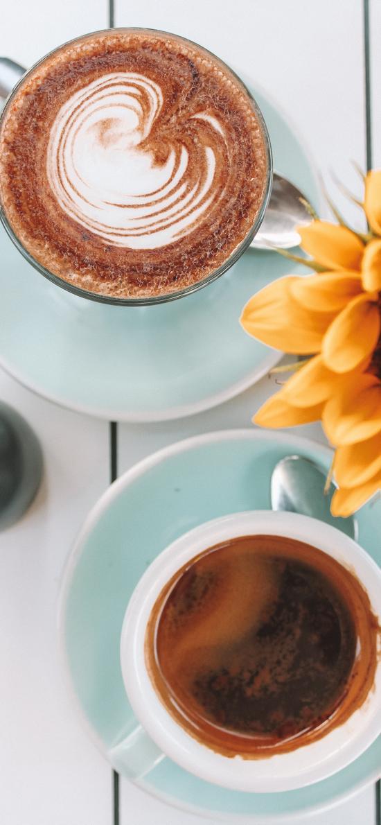 咖啡 向日葵 拉花 瓷杯