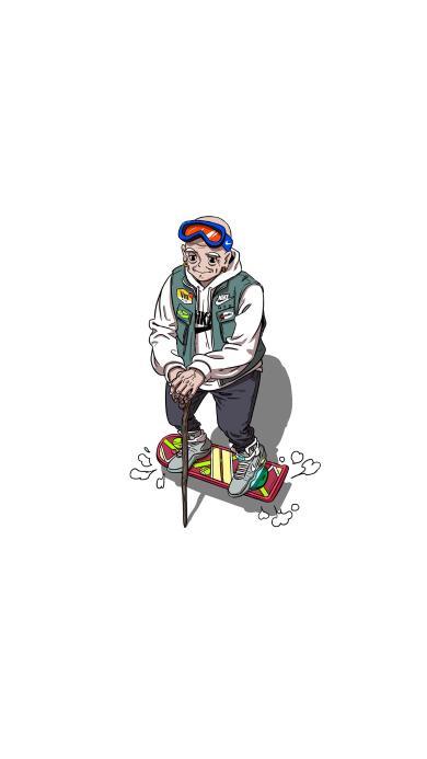 滑板 老人 拐杖 潮服 插画
