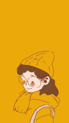 插画女孩 简笔 眼镜 黄色