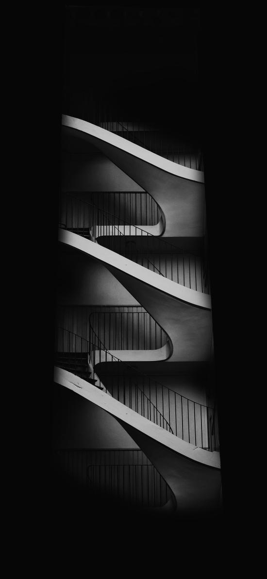 空间 楼梯 螺旋 黑白 设计
