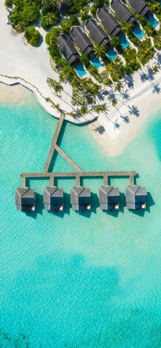 航拍 海景 水上 度假屋 休闲