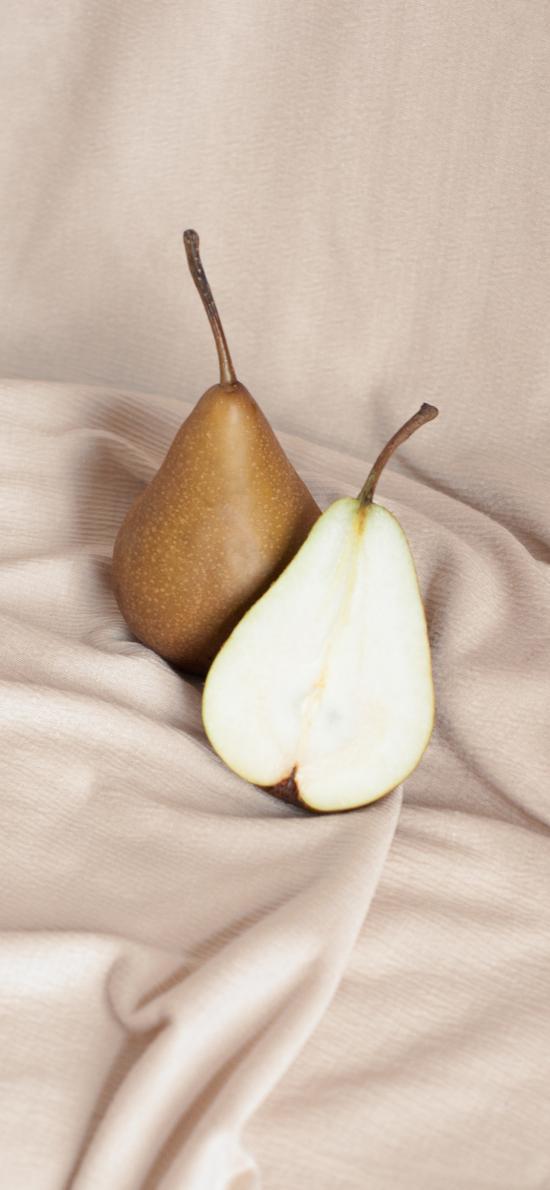 水果 梨 切開 潔白