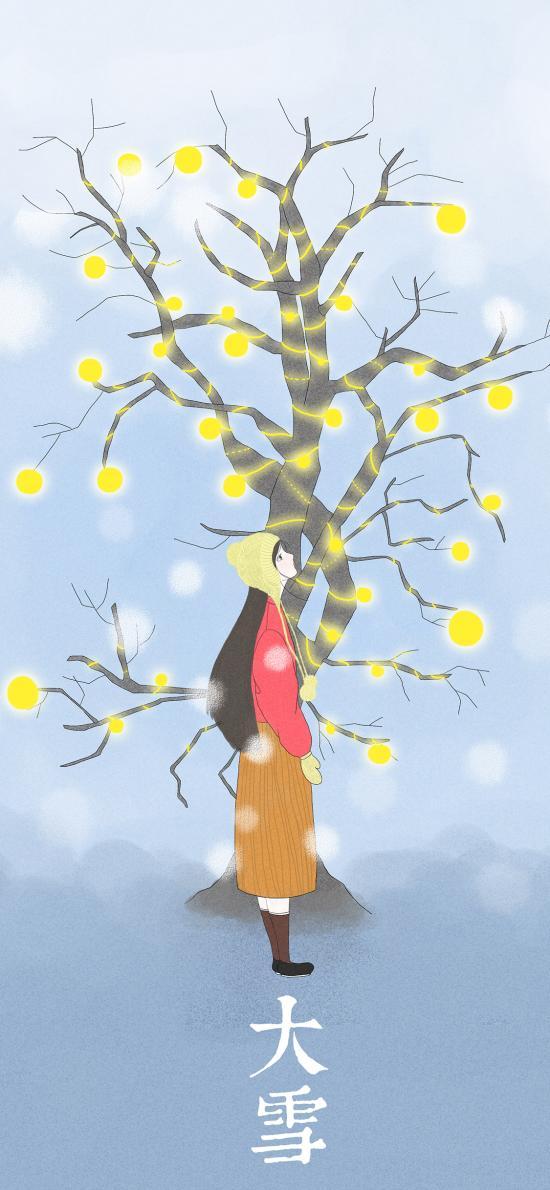 大雪 二十四节气 插画 冬季 女孩