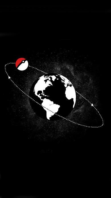 黑白 精灵球 地球 围绕 环线 宠物小精灵