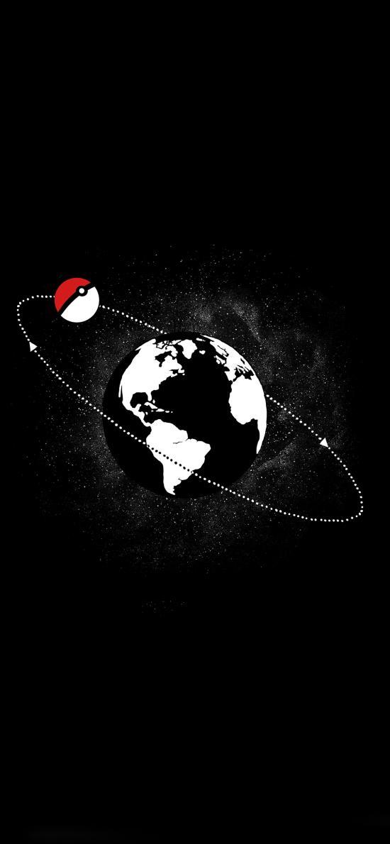 黑白 精靈球 地球 圍繞 環線 寵物小精靈