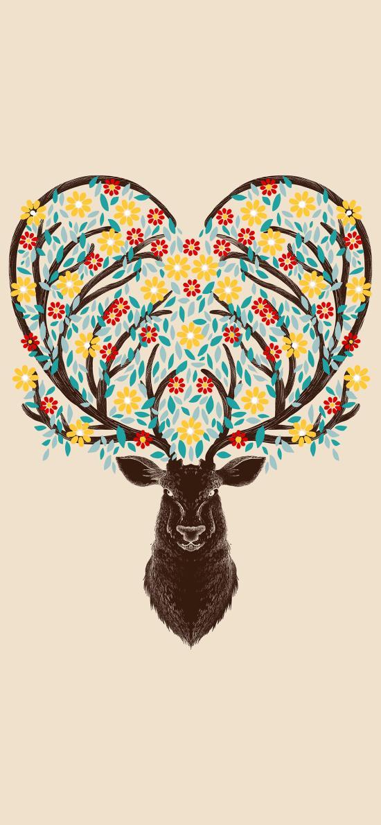鹿 爱心 绘画 树枝 鹿角