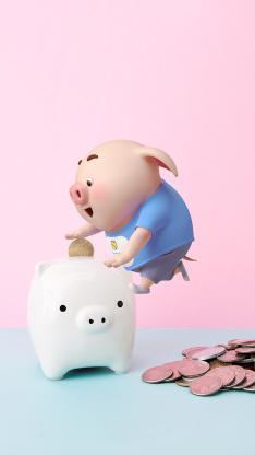 猪小屁 可爱 粉色 储蓄罐 硬币