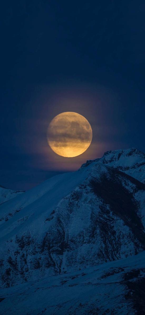 山峰 白雪覆盖 月亮 夜景