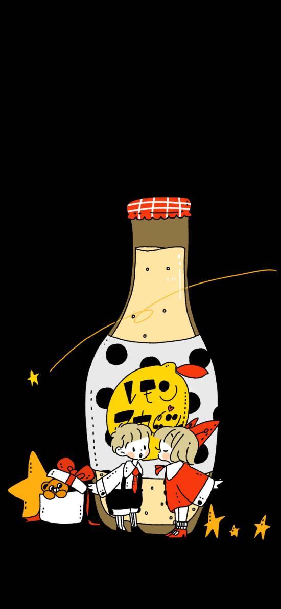 卡通 插图 情侣 瓶子