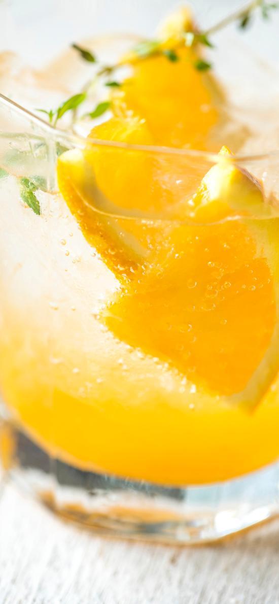 果汁 橙汁 玻璃杯 罗勒