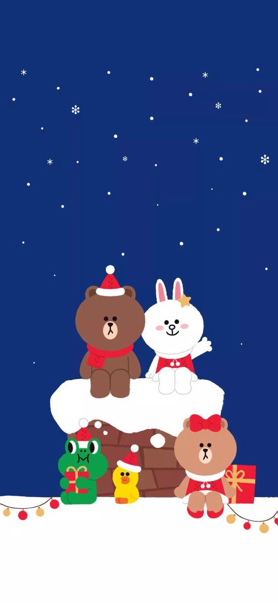 圣诞 linefriends 布朗熊 可妮兔 雪花