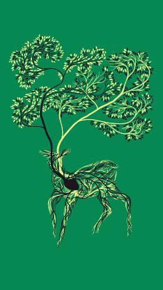 鹿 绘画 心脏 血管 拟人 绿色