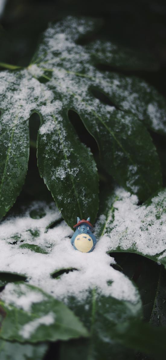 绿植 雪季 雪花 龙猫 玩具