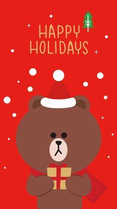 圣诞快乐 marry Christmas linefriends 布朗熊 红色 礼物
