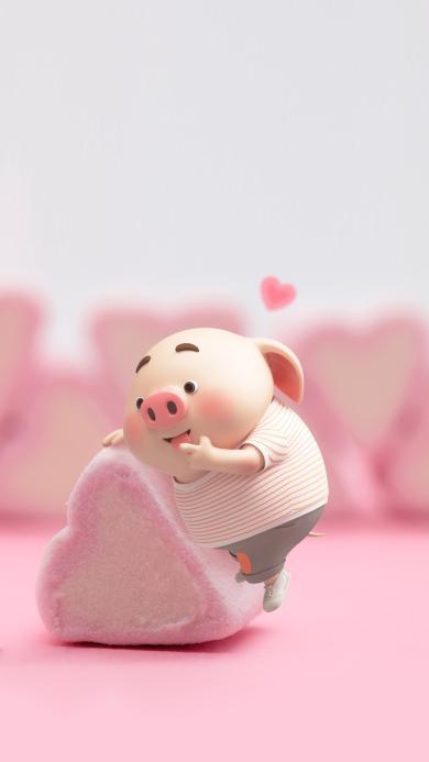 猪小屁 可爱 粉色 爱心 棉花糖