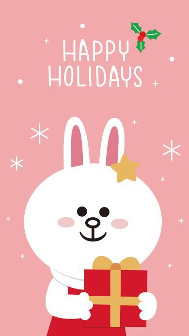 圣诞快乐 marry Christmas linefriends 可妮兔 粉色 礼物