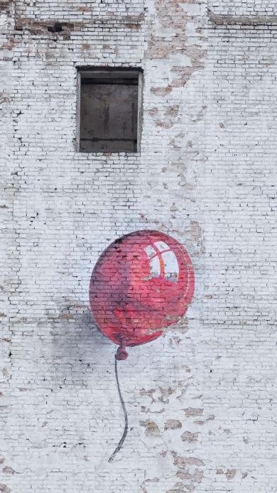 气球 墙绘 红色 艺术