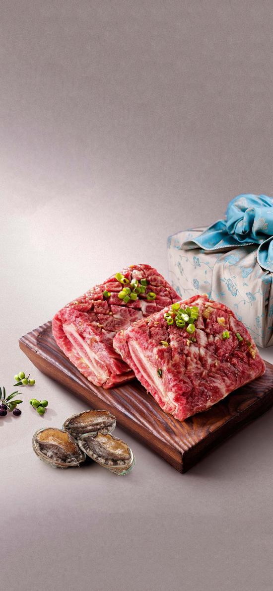 食材 生肉 肉排 鲍鱼 葱花