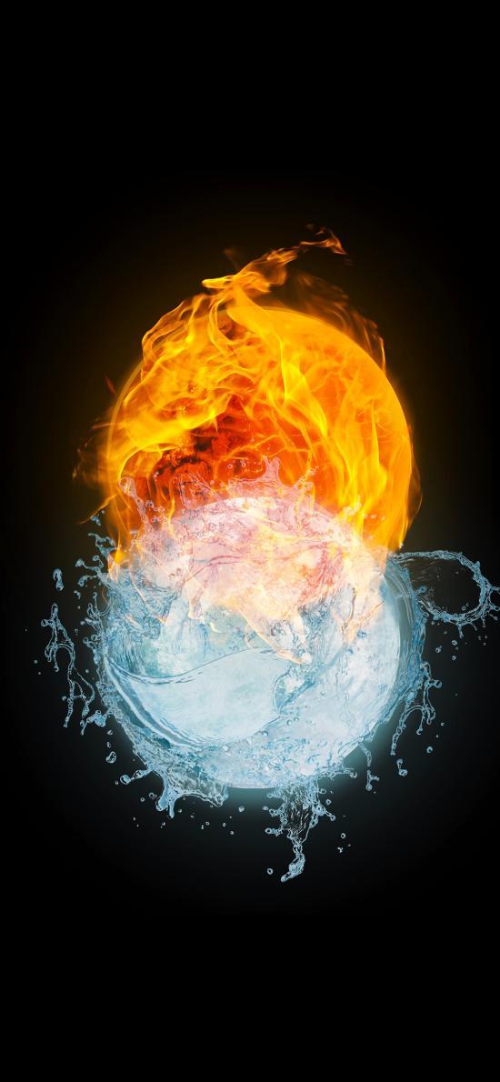 火球 水球 交融 水火 形態