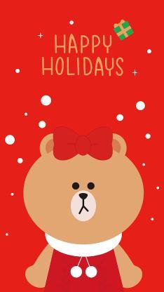 节日快乐 圣诞 linefriends 红色