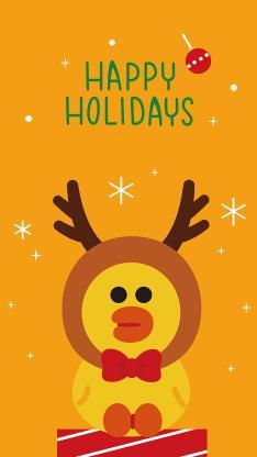 节日快乐 圣诞 linefriends 萨莉鸡 黄色