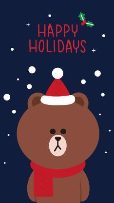 节日快乐 圣诞 linefriends 布朗熊