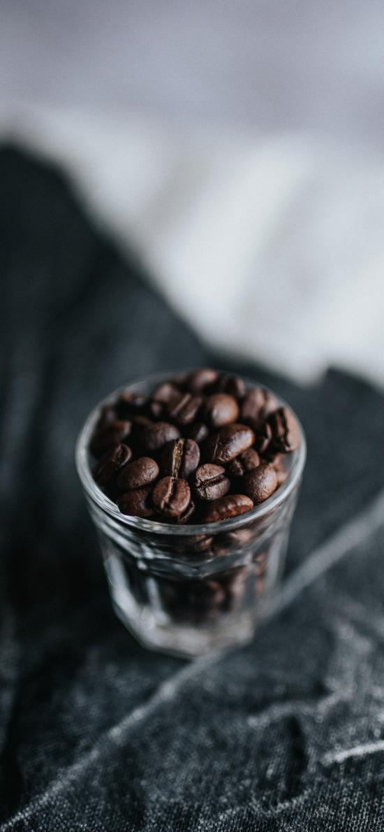 颗粒 食材 咖啡豆 玻璃杯