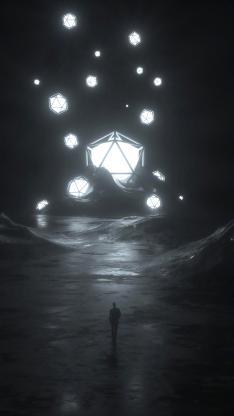 空间 发光 几何 立体 背影