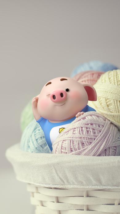 猪小屁 可爱 毛线球 竹筐