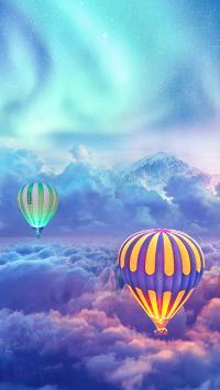 景色 热气球 极光  云层