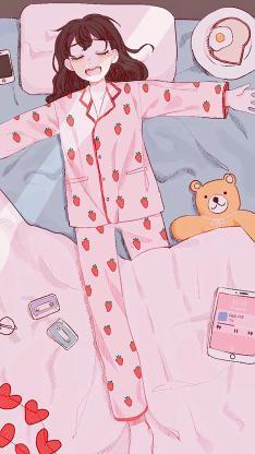 日系 二次元少女 草莓睡衣 粉色