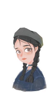 女孩 插画 艺术 麻花辫