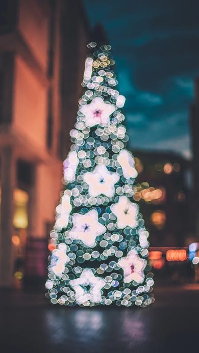 圣诞树 圣诞节 装饰 星星 朦胧
