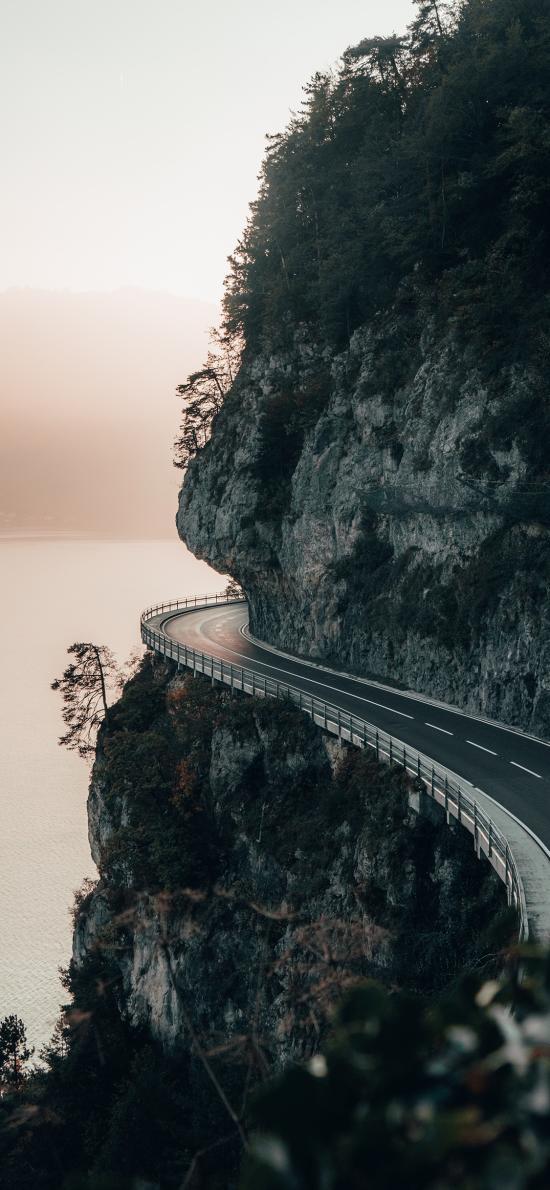 峭壁 公路 环海 道路