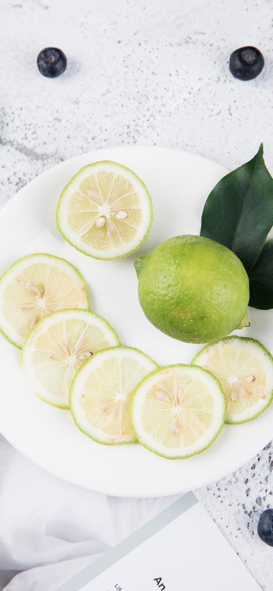 水果 柠檬 切片 蓝莓