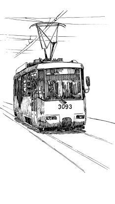 电车 线稿 绘画 交通