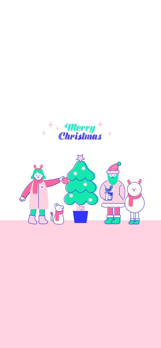 圣诞快乐 圣诞树 插画 雪人