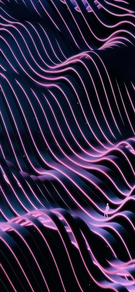 线 空间 流动 排列 紫色