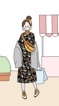 女孩 插画 时尚 穿搭 碎花裙