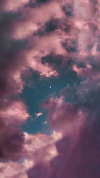 天空 紫云 星空 月牙