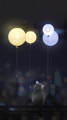 插画 猫咪 背影 气球