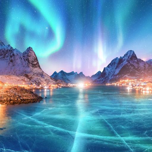 极光 景色 冰面 夜晚 璀璨