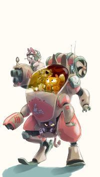 插画 猫咪 机器人 战斗 创意
