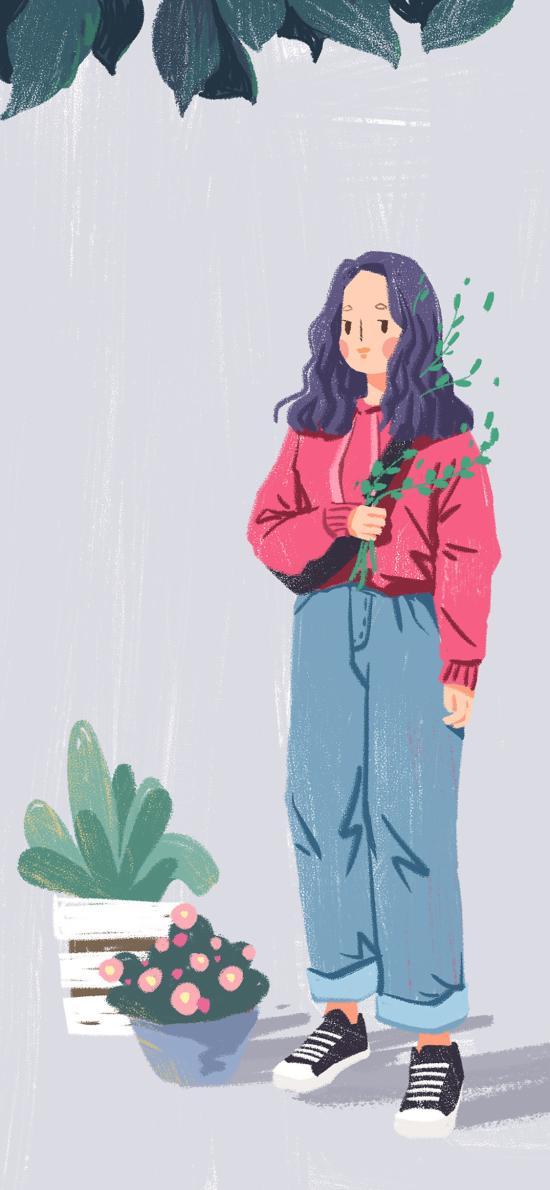 女孩 插画 艺术 小清新 盆栽