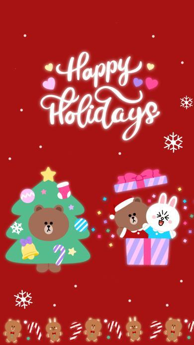 节日快乐 linefriends 红色 圣诞节 布朗熊 可妮兔