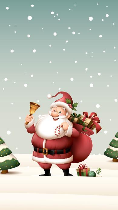 圣诞老人 礼物 铃铛 雪